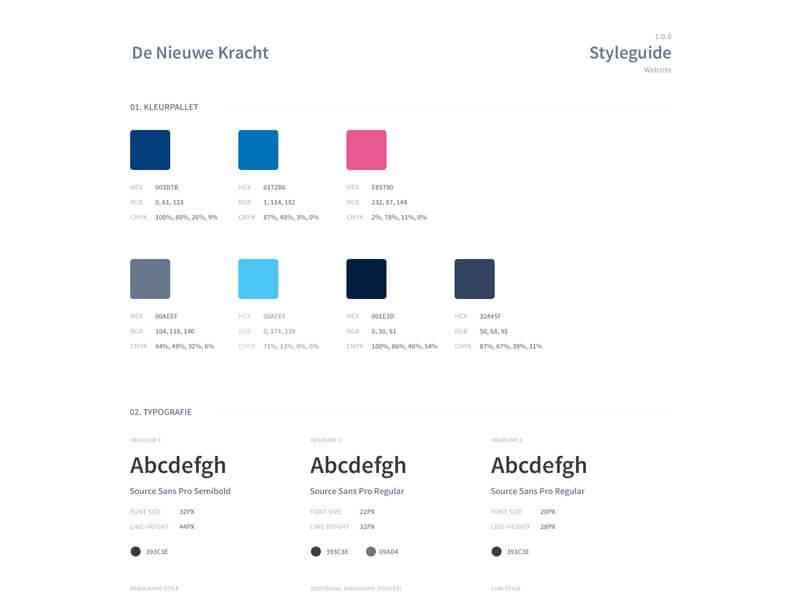 Styleguide webdesign De Nieuwe Kracht